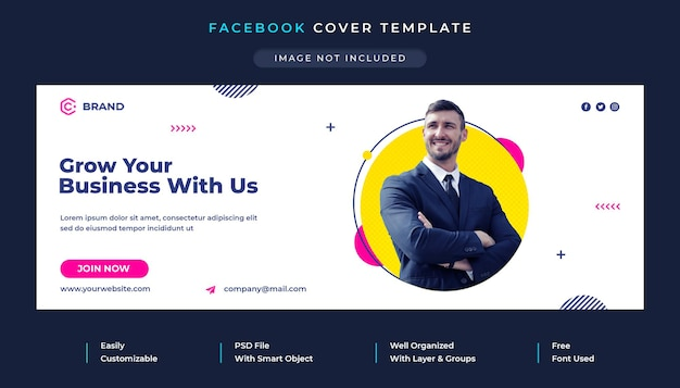 Couverture facebook et modèle de bannière web de l'agence commerciale et créative
