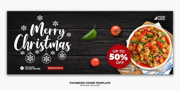 Couverture facebook de noël pour le menu du restaurant