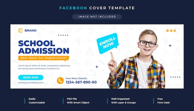 Couverture facebook promotionnelle d'admission à l'école et modèle de bannière web