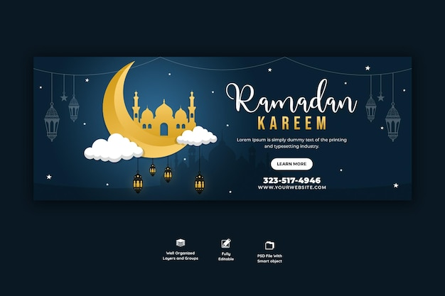 Couverture facebook religieuse du festival islamique traditionnel du ramadan kareem