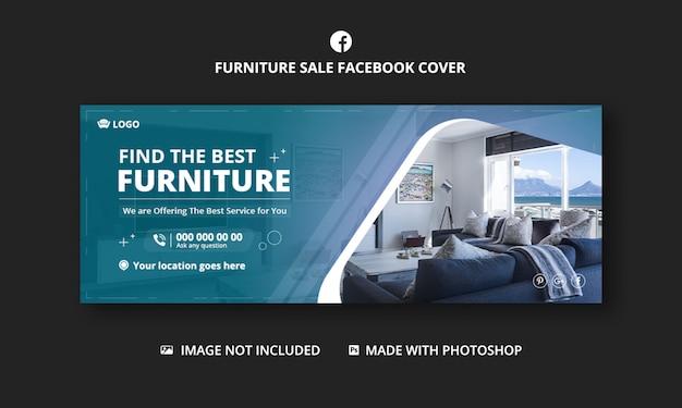 Couverture facebook de vente de meubles, modèle de bannière