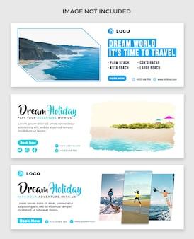Couverture facebook de voyage et ensemble de modèles de bannières web de médias sociaux