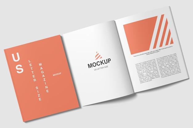 Couverture de format lettre us et maquette de magazine ouverte