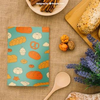 Couverture de livre composition avec du pain