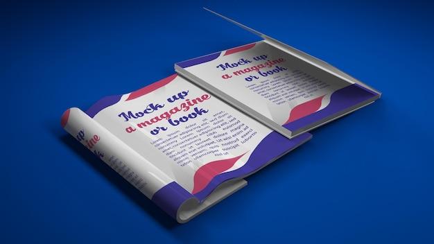Couverture de livre et maquette de livre ouvert