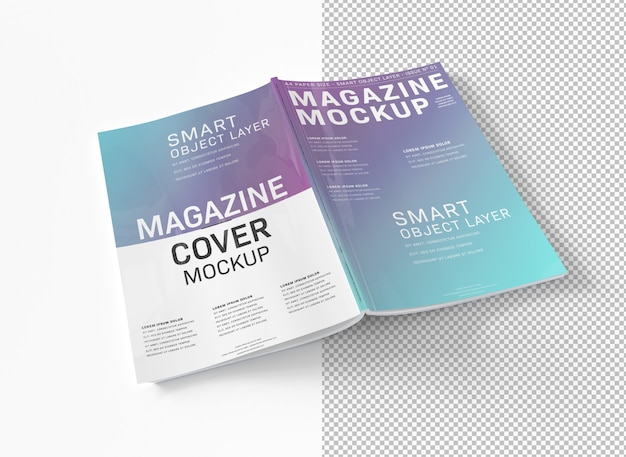 Couverture de magazine découpée sur maquette blanche