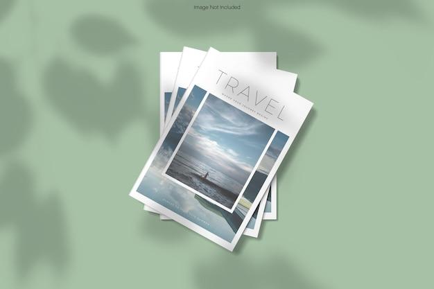 Couverture de magazine, vue de dessus, maquette, rendu de conception