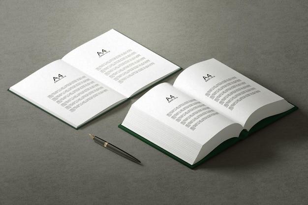 Couverture rigide simple minimale avec maquette de livre ouvert
