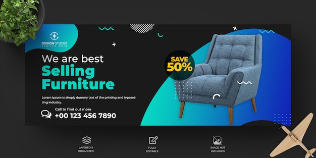 Couverture de vente de meubles facebook et conception de modèle de bannière facebook