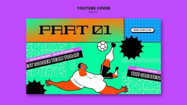 Couverture youtube du modèle de football illustration vibrante