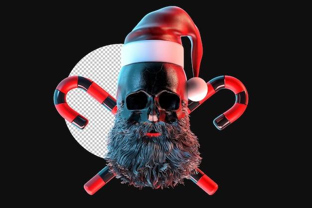 Crâne du père noël avec des cônes de bonbons. rendu 3d
