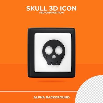 Crâne icône de rendu 3d halloween psd premium