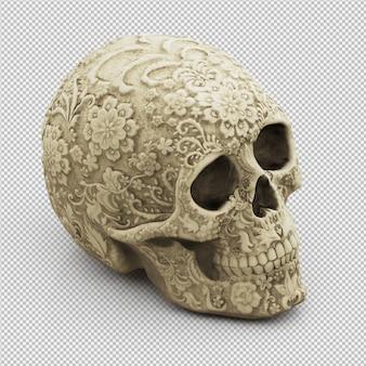 Crâne isométrique 3d rendu isolé