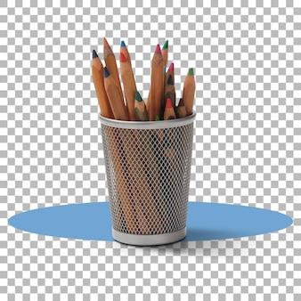 Crayons enfants sur bac blanc isolé