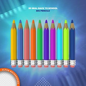 Crayons Retour à L'école Rendu D'étiquettes 3d PSD Premium