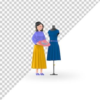 Créateur de mode de personnage 3d avec porte-vêtements premium psd
