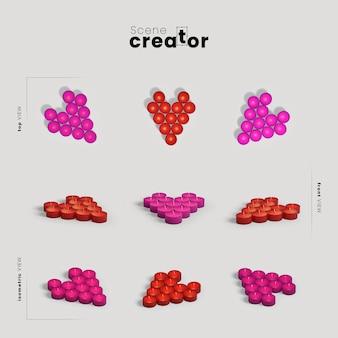 Créateur de scène avec des formes de coeur