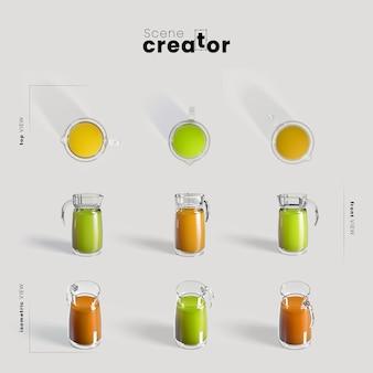 Créateur de scène avec jus de fruits frais