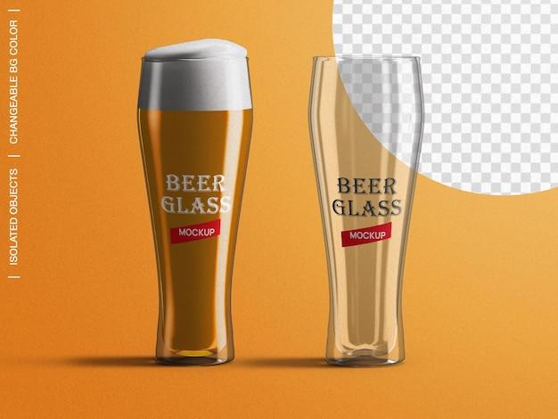 Créateur de scène de maquette d'étiquette d'emballage de verre de bière isolé