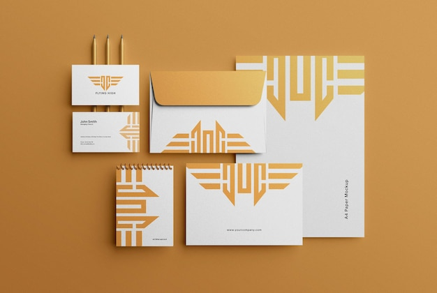 Créateur de scène de maquette d'identité de marque stationnaire d'entreprise de luxe moderne