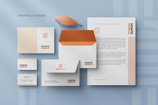 Créateur de scène de maquette d'identité de marque stationnaire d'entreprise minimal propre moderne