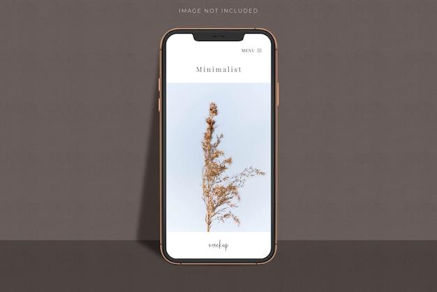 Créateur de scène de maquette de smartphone mobile réaliste avec superposition d'ombre. modèle pour l'application de conception de site web d'entreprise mondiale d'identité de marque