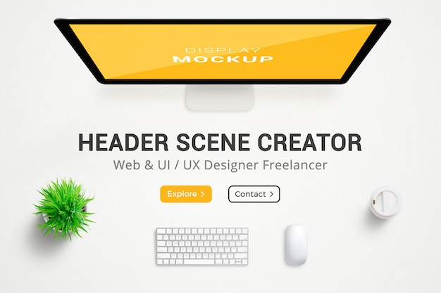 Créateur de scène d'en-tête. bureau de concepteur web. vue de dessus, composition à plat. plein en couches