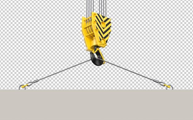 Crochet de grue de construction soulevant une dalle de béton