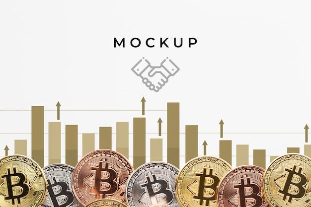 Crypto-monnaie colorée avec maquette