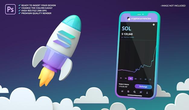Crypto-monnaie haussière solana sol dans une maquette d'écran de fusée et de téléphone en rendu 3d