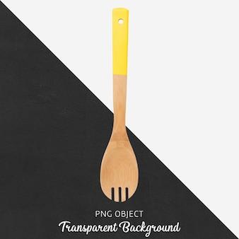Cuillère en bois avec manche jaune sur fond transparent