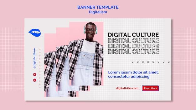 Culture numérique et bannière de digitalisme jeune homme