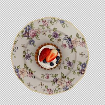 Cupcake isométrique 3d rendu isolé