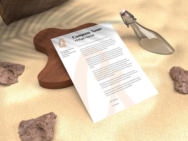 Curriculum vitae de portefeuille papier réaliste pour maquette de flyer d'entreprise et publicitaire