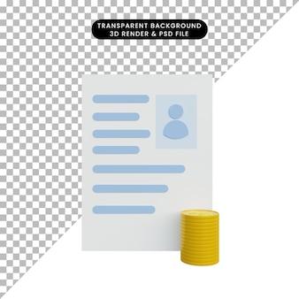 Cv illustration 3d avec pile si pièce