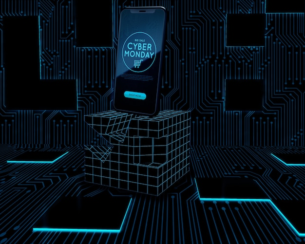 Cyber lundi téléphone mis sur néon cube