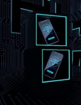 Cyber lundi téléphones sur des cadres de néon