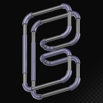 Cyber style isolé rendu 3d lettre b