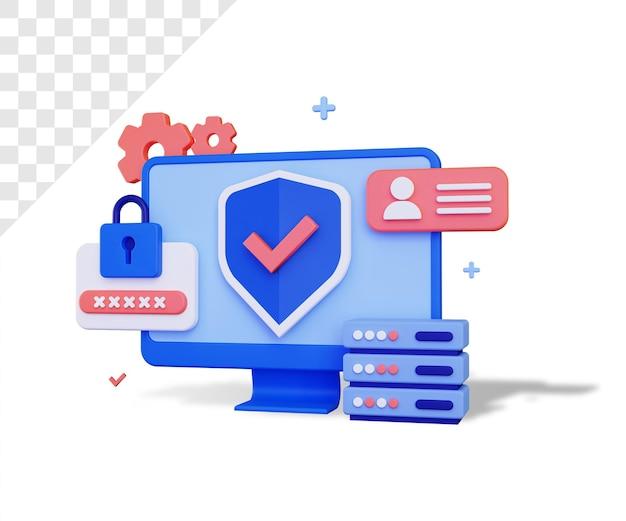 Cybersécurité 3d avec grand moniteur et mot de passe