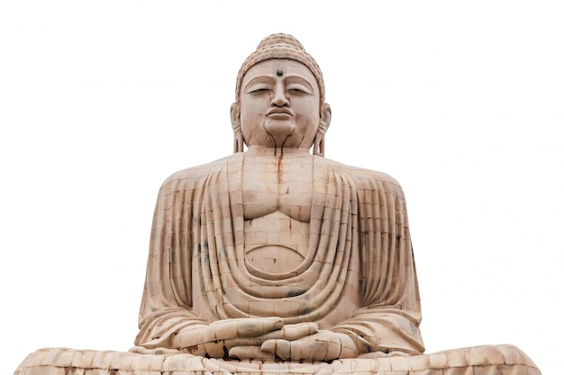 Daibutsu isolé, la statue du grand bouddha en méditation pose temple mahabodhi