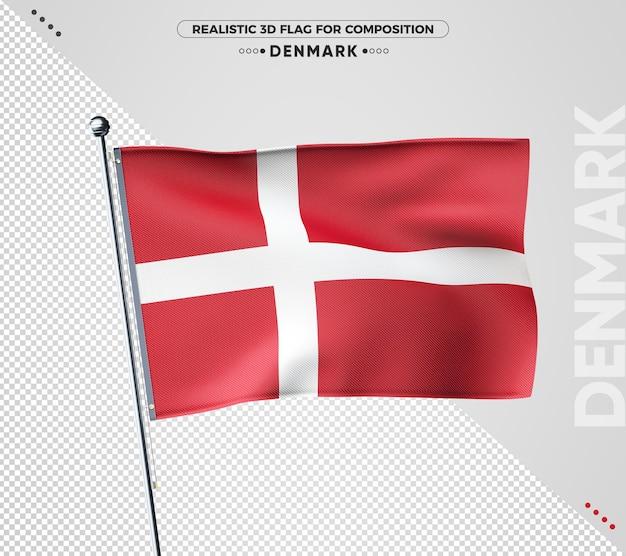 Danemark drapeau texturé 3d pour la composition
