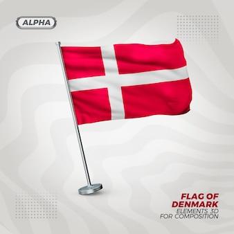 Danemark drapeau texturé 3d réaliste pour la composition