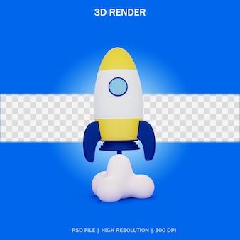 Décollage de fusée avec fond transparent en design 3d
