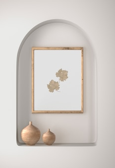 Décor de cadre avec des feuilles et des vases