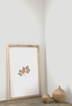 Décor de cadre avec des vases