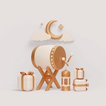 Décoration d'affichage islamique avec croissant de lanterne bedug et illustration de boîte-cadeau
