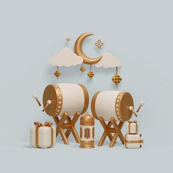 Décoration d'affichage islamique avec croissant de lanterne de tambour bedug et illustration de boîte-cadeau