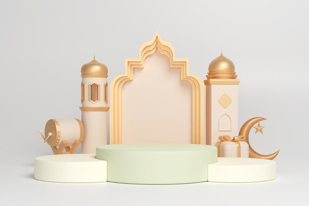 Décoration d'affichage islamique sur podium avec croissant de tambour bedug et boîte-cadeau