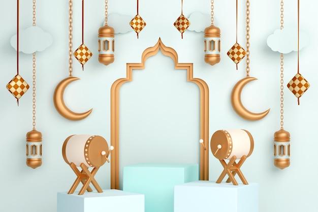 Décoration d'affichage islamique sur podium avec lanterne en croissant de tambour bedug et ketupat