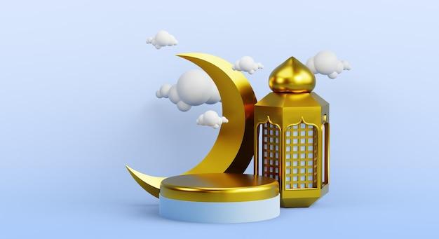 Décoration d'affichage de podium islamique avec lanterne d'or et rendu 3d de la lune